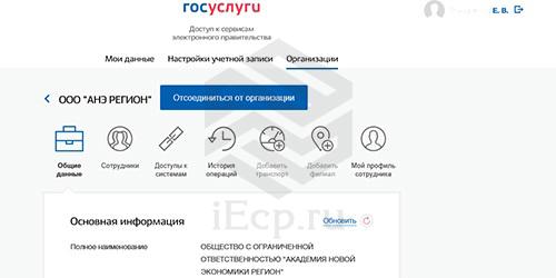 Госуслуги - Организация - Основная информация