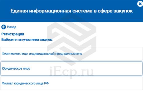 ЕИС - Регистрация - юрлицо