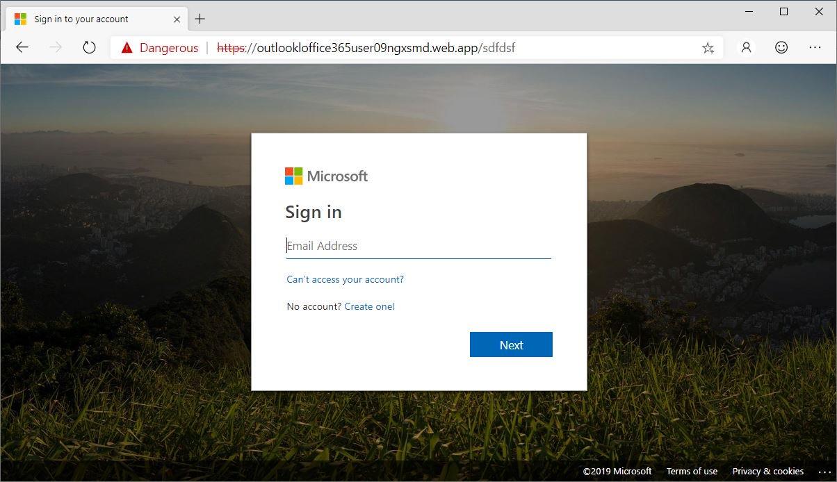 Страница с ошибкой 404, замаскированная злоумышленниками под форму