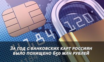 За год с банковских карт россиян было похищено 650 млн рублей