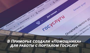 В Приморье создали «Помощника» для работы с порталом Госуслуг