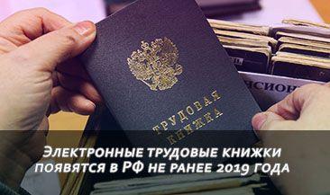 Электронные трудовые книжки появятся в РФ не ранее 2019 года