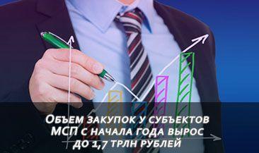 Объем закупок у субъектов МСП с начала года вырос до 1,7 трлн рублей