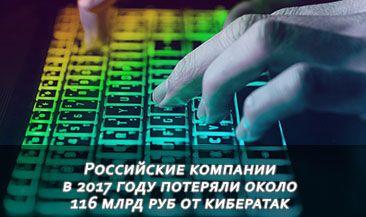 Российские компании в 2017 году потеряли около 116 млрд руб от кибератак