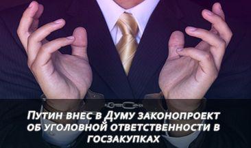 Путин внес в Думу законопроект об уголовной ответственности в госзакупках