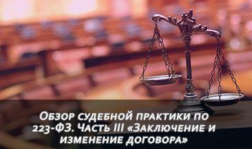 Обзор судебной практики по 223-ФЗ. Часть III «Заключение и изменение договора»