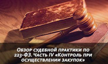 Обзор судебной практики по 223-ФЗ. Часть IV «Контроль при осуществлении закупок»