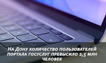На Дону количество пользователей портала госуслуг превысило 2,5 млн человек