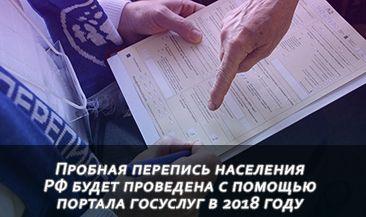 Пробная перепись населения РФ будет проведена с помощью портала госуслуг в 2018 году