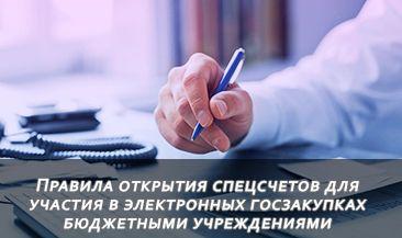 Правила открытия спецсчетов для участия в электронных госзакупках бюджетными учреждениями