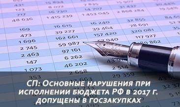 СП: Основные нарушения при исполнении бюджета РФ в 2017 г. допущены в госзакупках