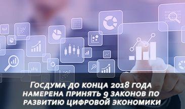 Госдума до конца 2018 года намерена принять 9 законов по развитию цифровой экономики