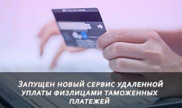 Запущен новый сервис удаленной уплаты физлицами таможенных платежей