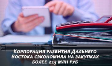 Корпорация развития Дальнего Востока сэкономила на закупках более 213 млн руб