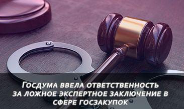 Госдума ввела ответственность за ложное экспертное заключение в сфере госзакупок