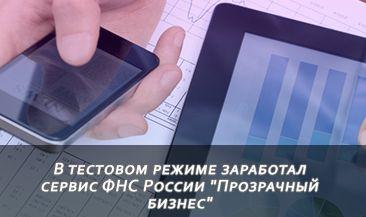 """В тестовом режиме заработал сервис ФНС России """"Прозрачный бизнес"""""""