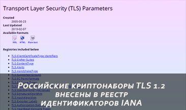 Российские криптонаборы TLS 1.2 внесены в реестр идентификаторов IANA