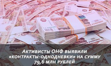 Активисты ОНФ выявили «контракты-однодневки» на сумму 79,6 млн рублей