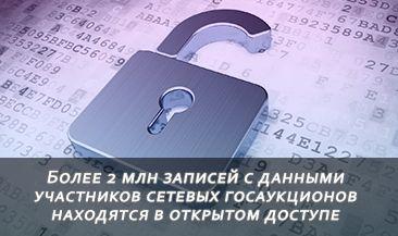 Более 2 млн записей с данными участников сетевых госаукционов находятся в открытом доступе