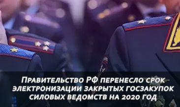 Правительство РФ перенесло срок электронизации закрытых госзакупок силовых ведомств на 2020 год