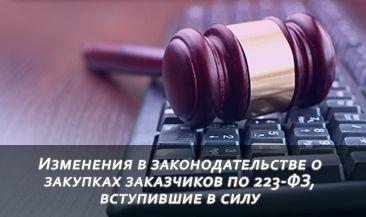 Изменения в законодательстве о закупках заказчиков по 223-ФЗ, вступившие в силу