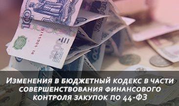 Изменения в бюджетный кодекс в части совершенствования финансового контроля закупок по 44-ФЗ