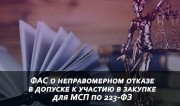 ФАС о неправомерном отказе в допуске к участию в закупке для МСП по 223-ФЗ