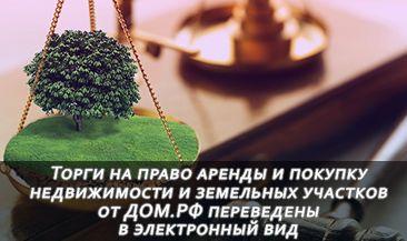 Торги на право аренды и покупку недвижимости и земельных участков от ДОМ.РФ переведены в электронный вид