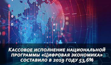 Кассовое исполнение национальной программы «Цифровая экономика» составило в 2019 году 53,6%