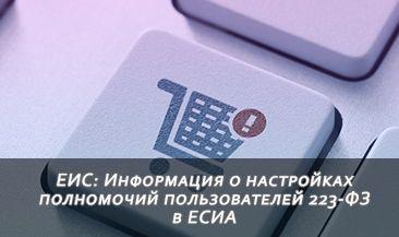 ЕИС: Информация о настройках полномочий пользователей 223-ФЗ в ЕСИА
