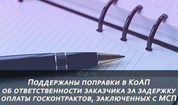 Поддержаны поправки в КоАП об ответственности заказчика за задержку оплаты госконтрактов, заключенных с МСП