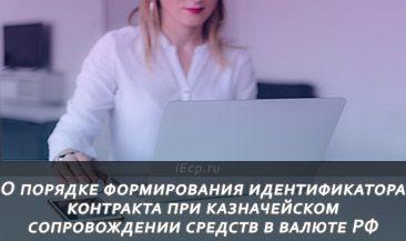О порядке формирования идентификатора контракта при казначейском сопровождении средств в валюте РФ